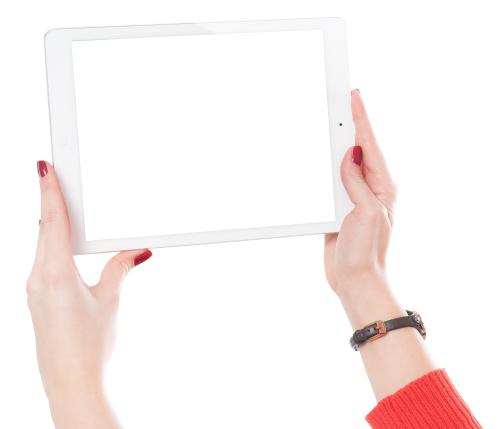 Ipad png. Woman hands holding image