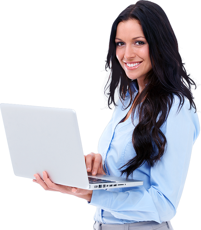 Women with laptop png. Making money online contact