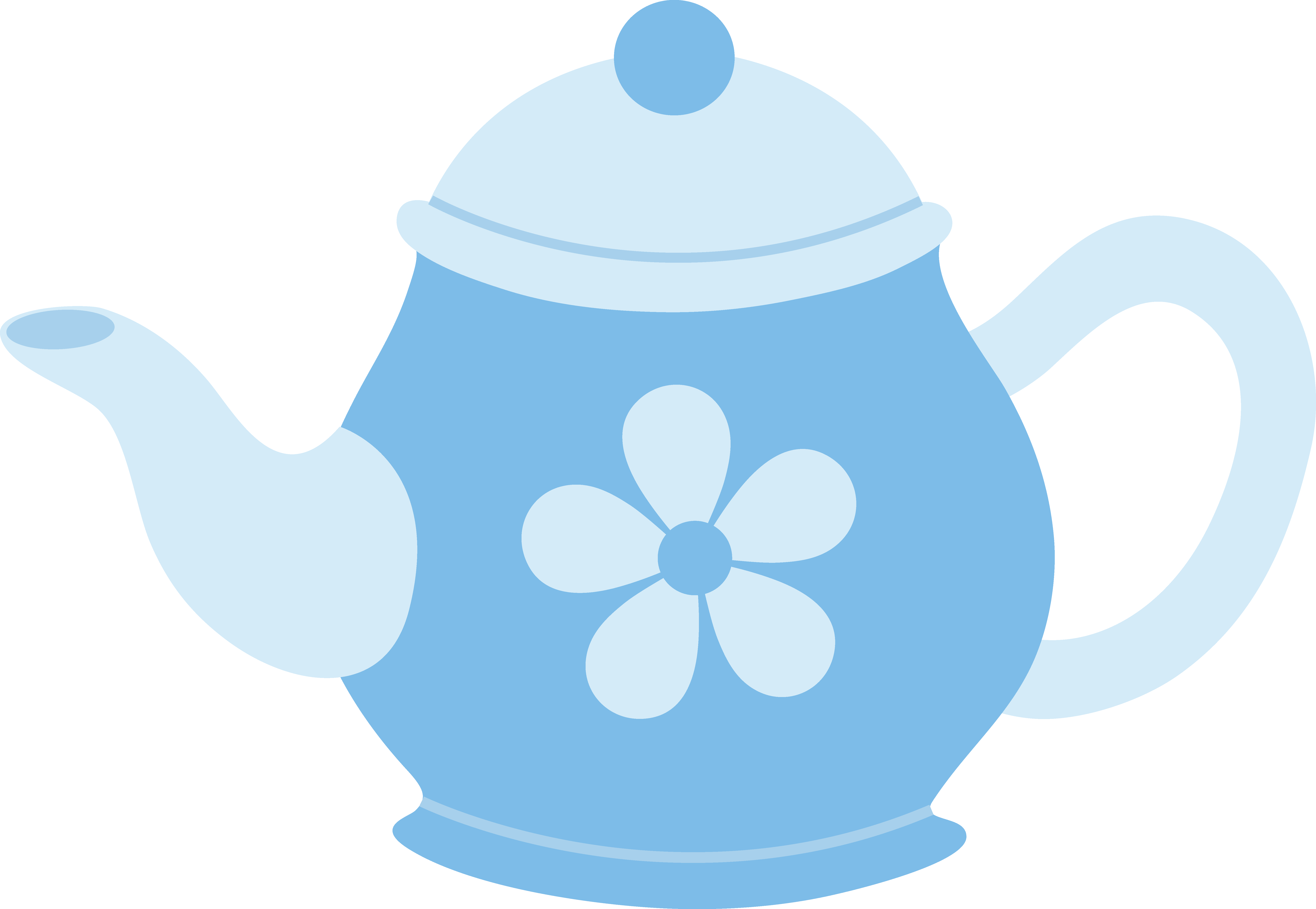 Kettle drawing mad hatter. Blue teapot with flower