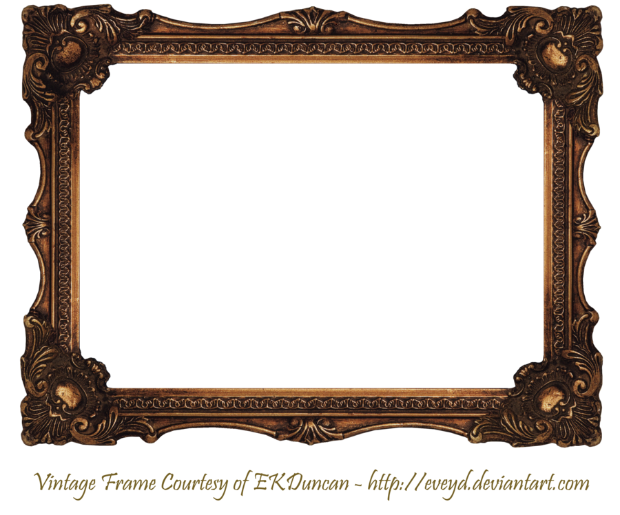 Vintage wood frame png. Elaborate scroll by ekduncan