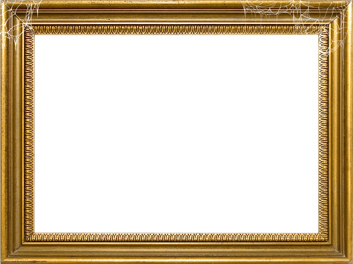 Wood frame png. Gold halloween
