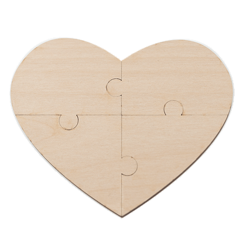 Wood heart png. Custom message puzzle