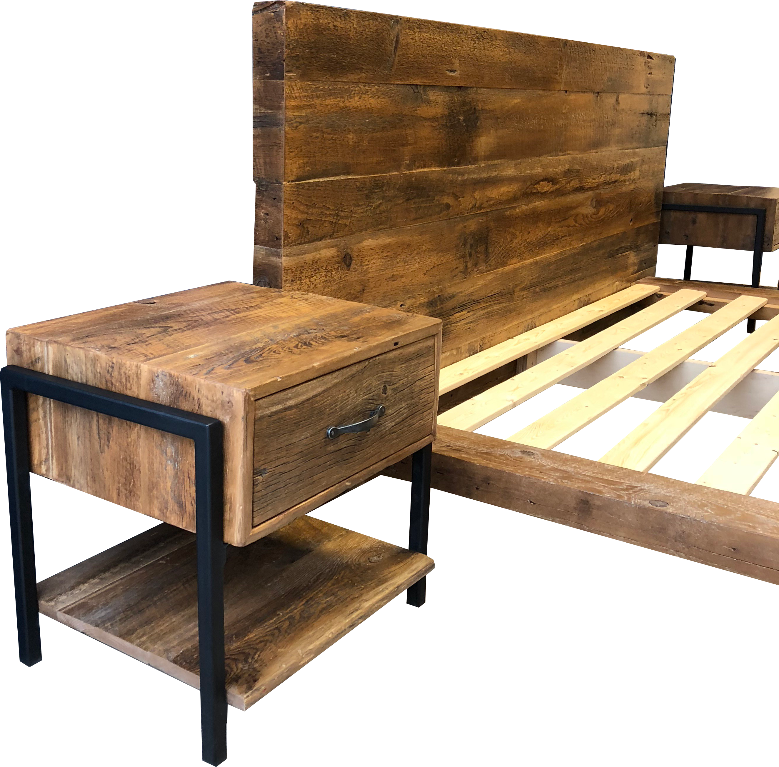 Wood platform png. Reclaimed bed with extended