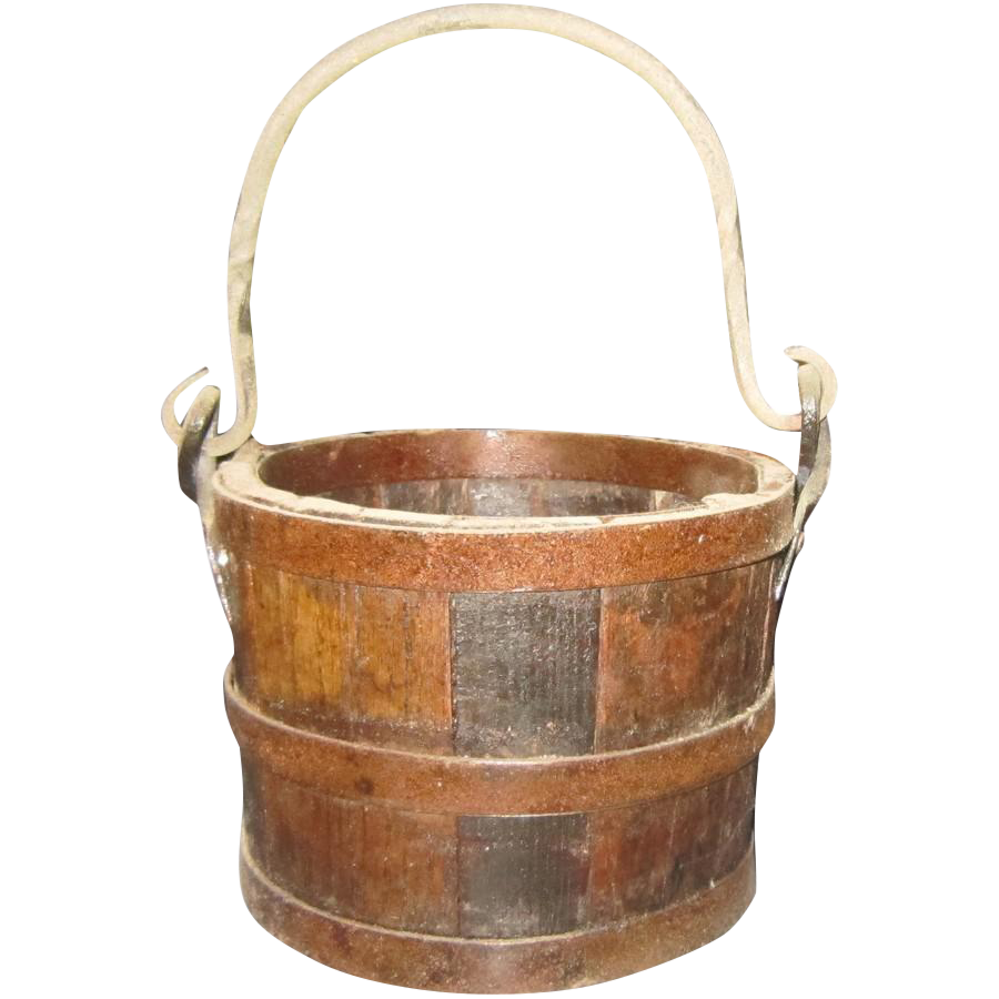 Wooden bucket png. Vintage pine chairish