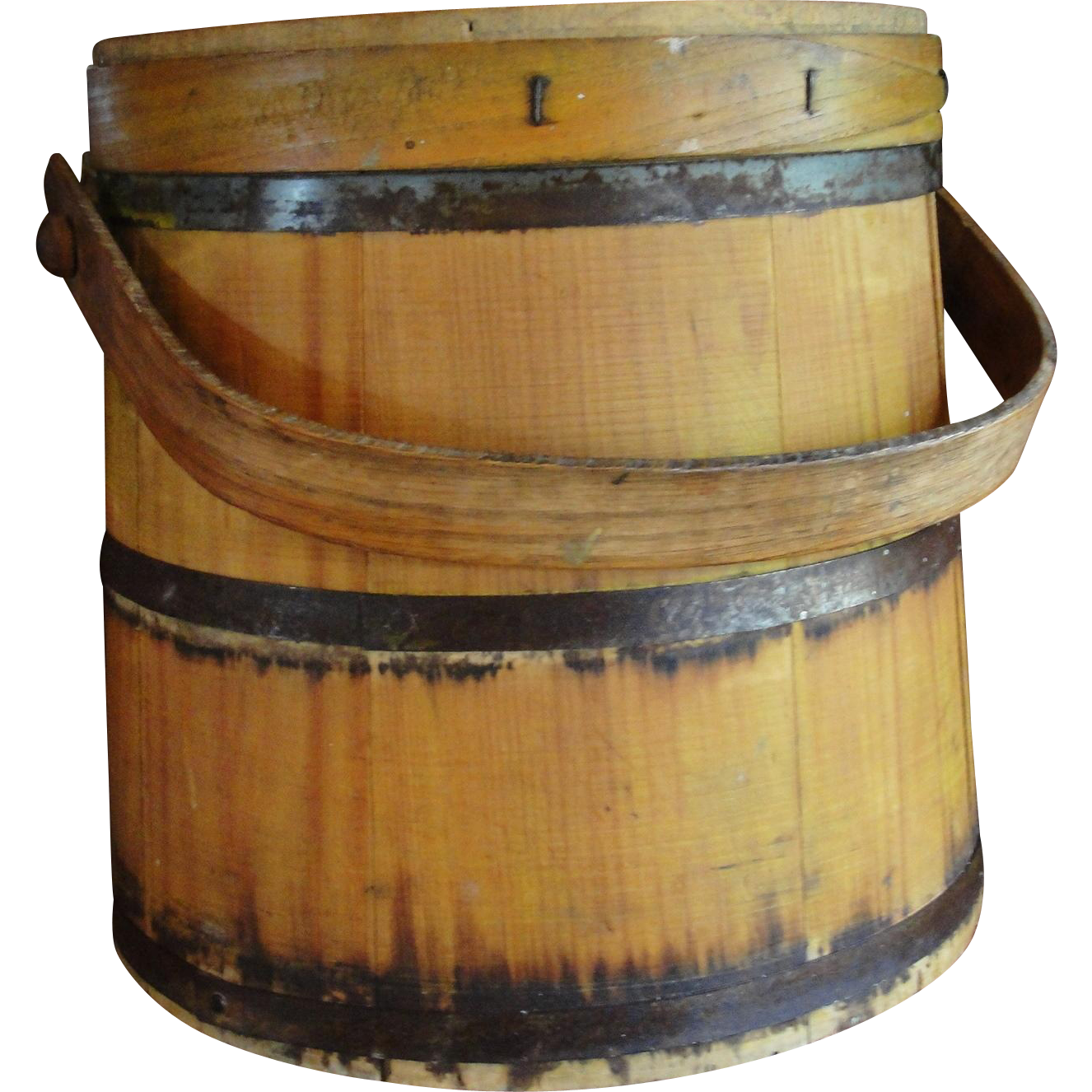 Wooden bucket png. Large yellow firkin pantry