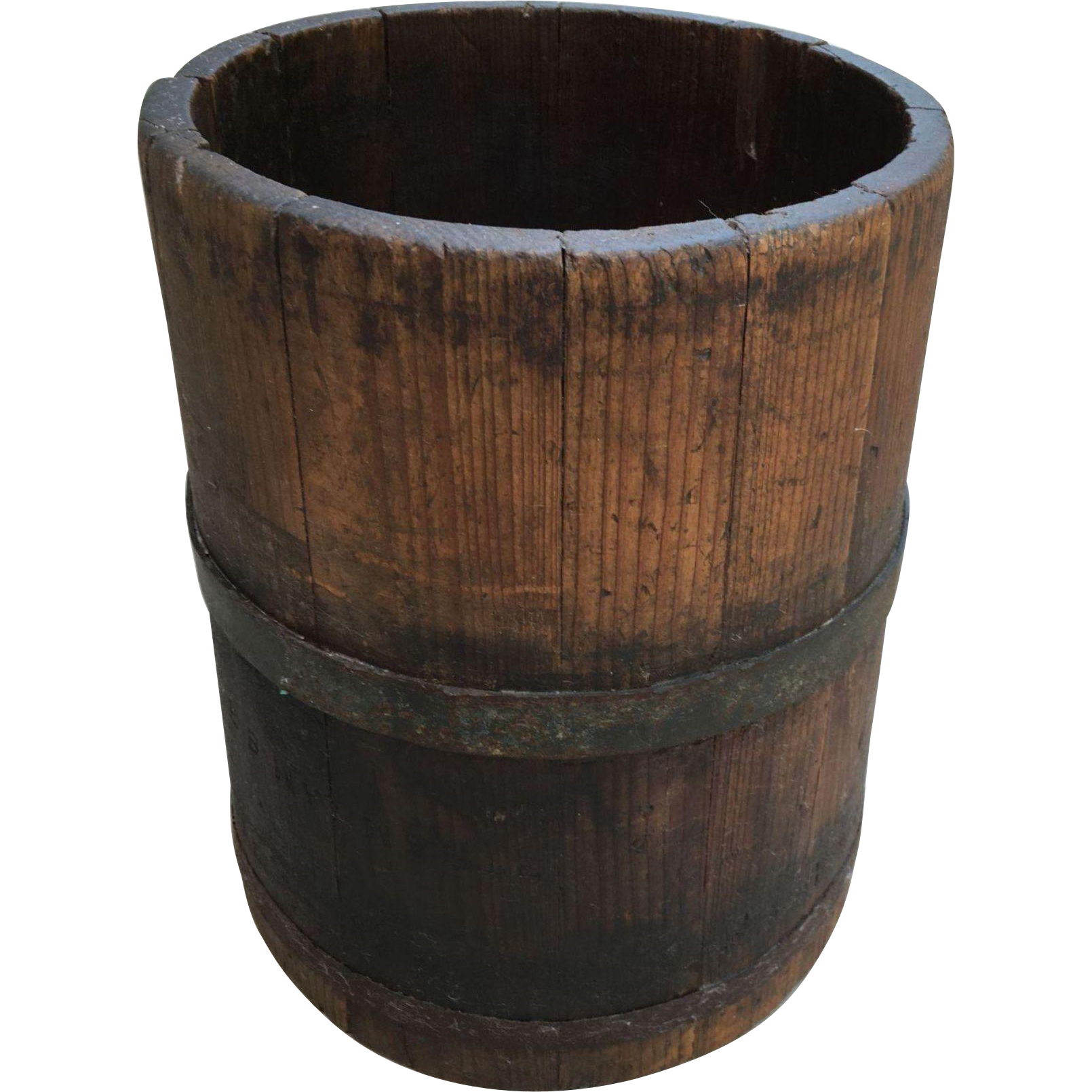 Wooden bucket png. Early antique dry measure
