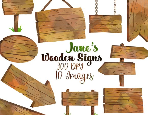 Wooden clipart. Signs illustrations creative market