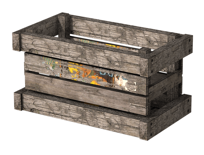 Wooden crate png. Side view transparent stickpng