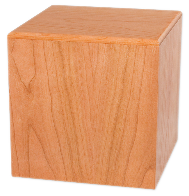 Wooden cube png. Wood urn container for