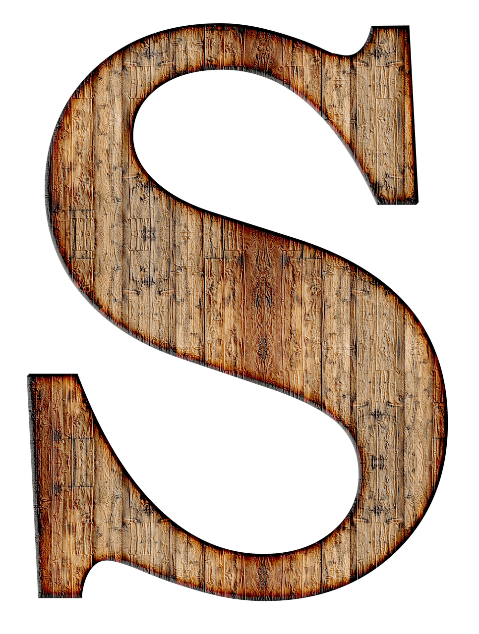 Letter s png. Wooden capital transparent stickpng