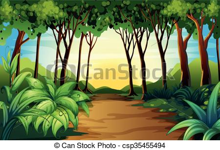 Woods clipart. Nature scene with track png black and white download