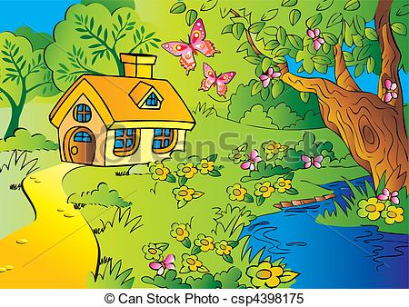 House in little vector. Woods clipart graphic royalty free stock