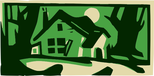 Woods clipart. House in the at
