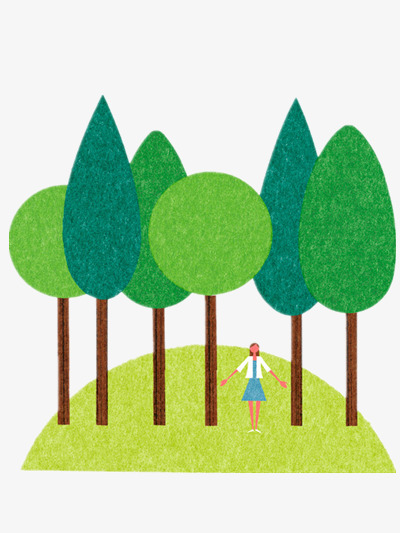Woods clipart. Forest hand painted green