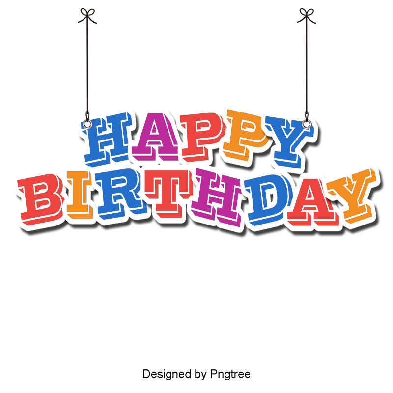 Happy birthday font png. Vector wordart and psd