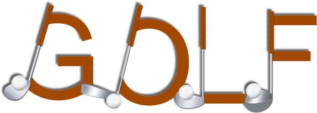 Word clipart golf. Decorated text volume from