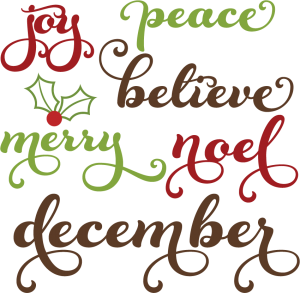 Words clipart. Christmas svg cutting files