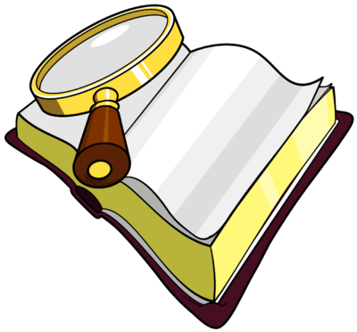 Words clipart book. Image magnifying glass over