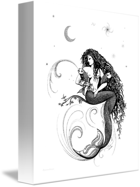 Words drawing pen and ink. Reef madonna mermaid by
