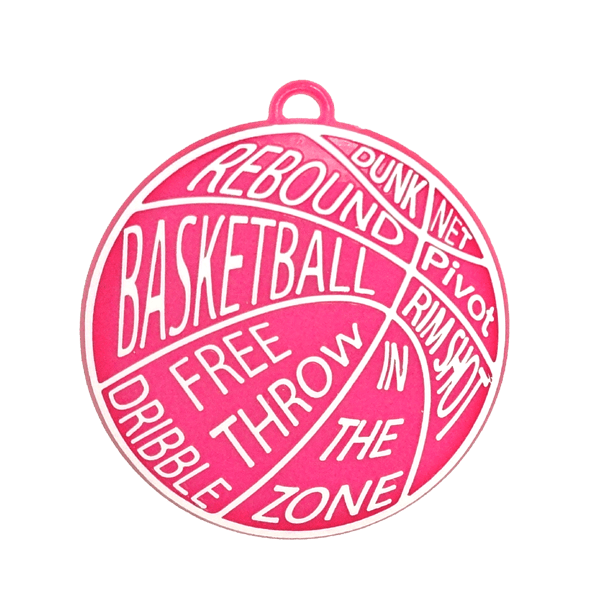 Words transparent basketball. Charm hot pink