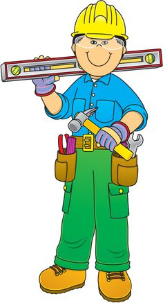 Worker clipart project presentation. Community helpers construction free