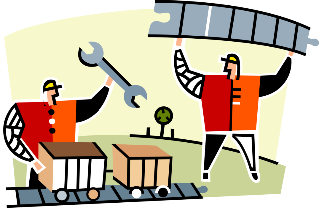 Worker vector construction team. Railway workers image illustration