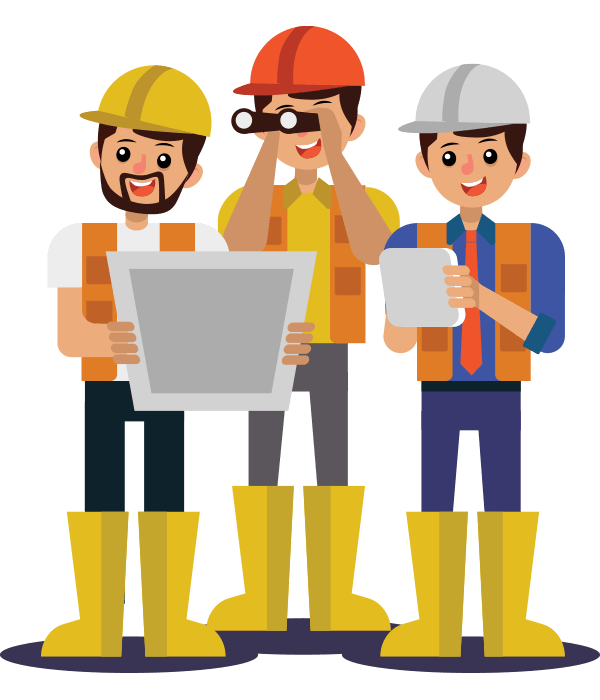 Worker vector construction team. Contractor banner freeuse