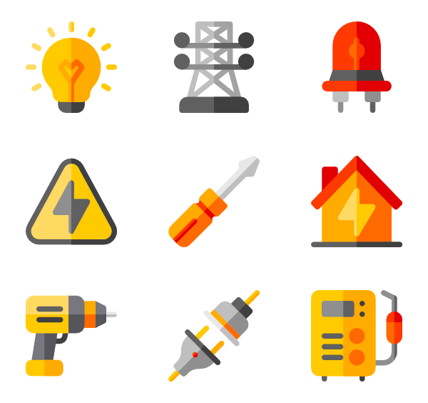 Worker vector electrical. Icons free electrician tools