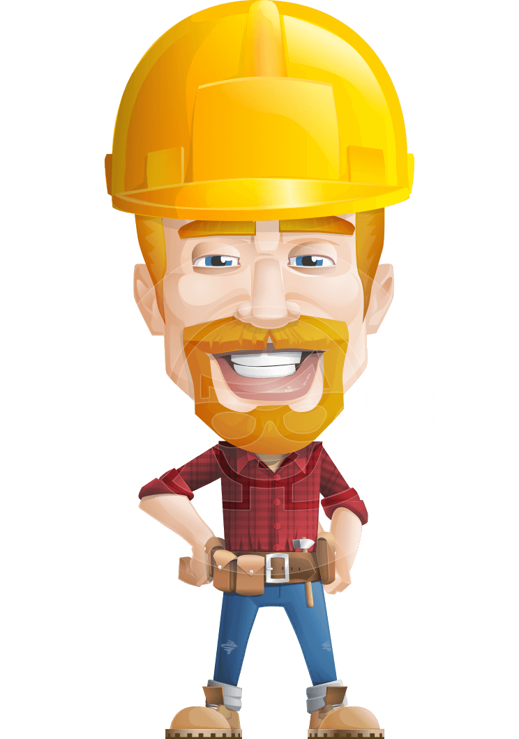 Worker vector person. Construction character workman mitchell