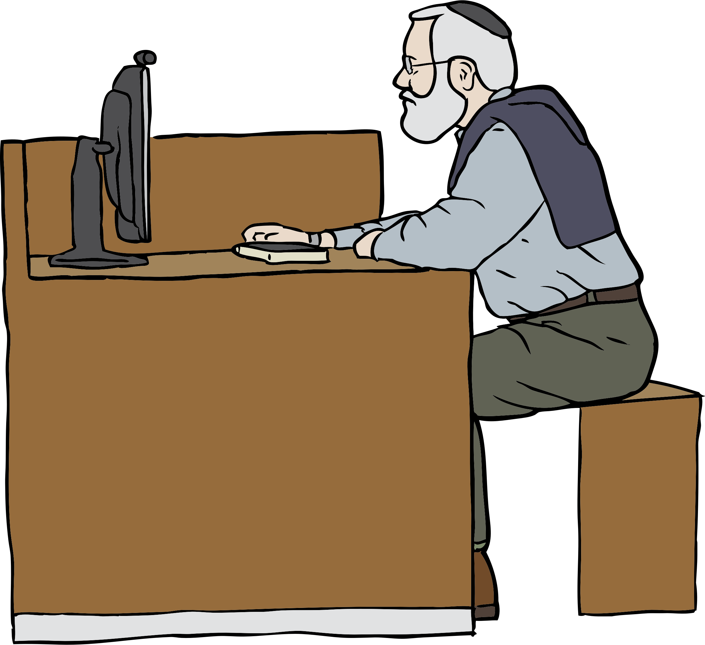 Man working on computer. Carpenter drawing work clipart clip royalty free library