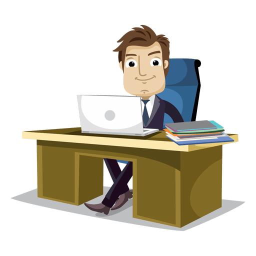 Vector office cartoon. Businessman working at transparent