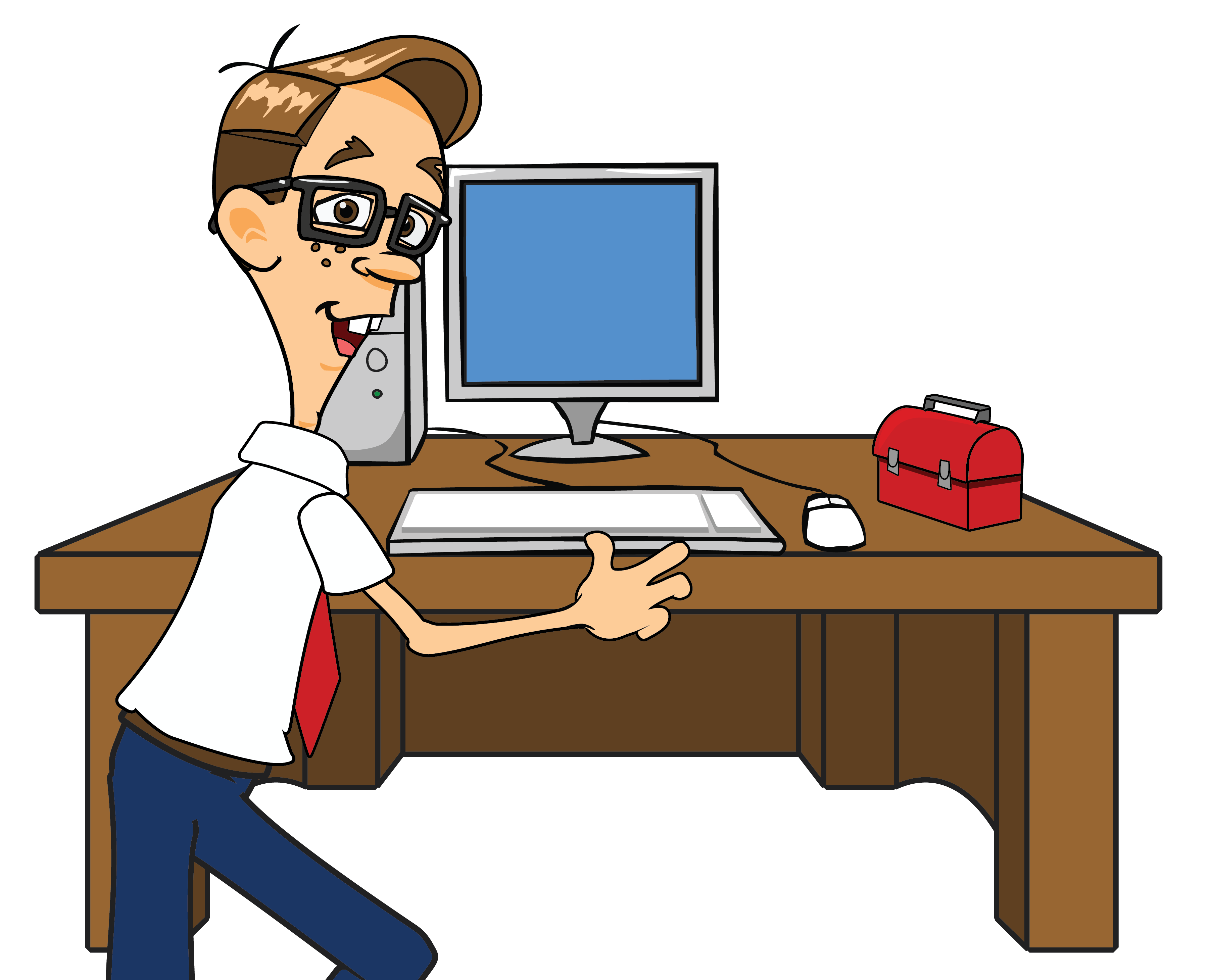 Pc clipart geek cute. Vector tool computer system servicing banner black and white