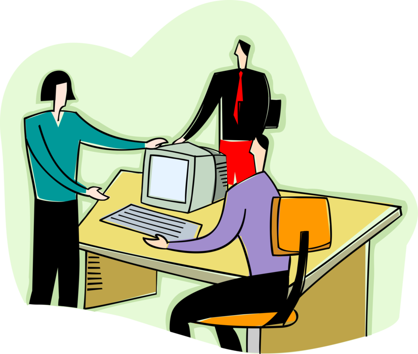Vector office workers working. Discuss work image illustration