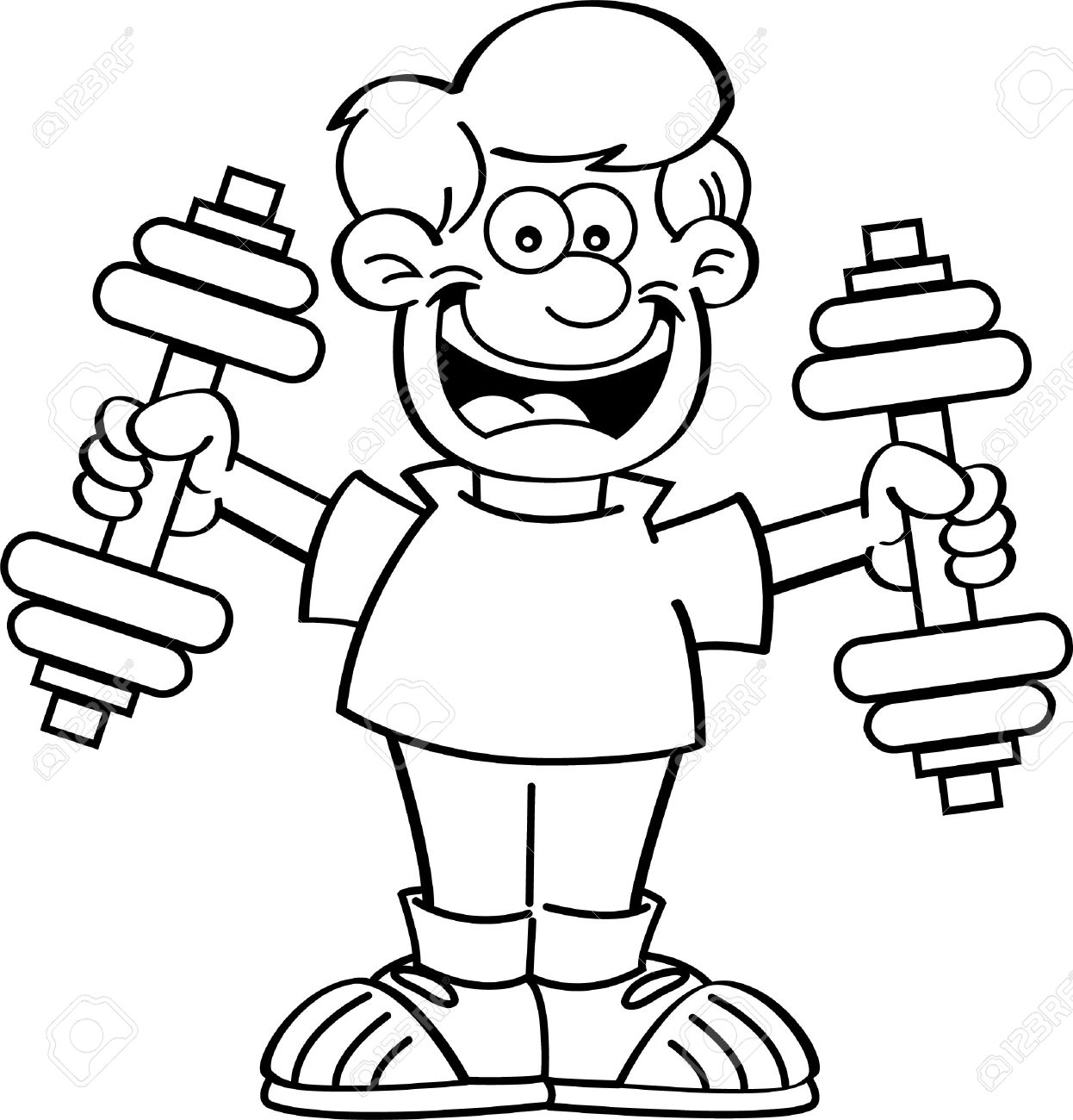 Workout clipart line art. Exercising drawing at getdrawings