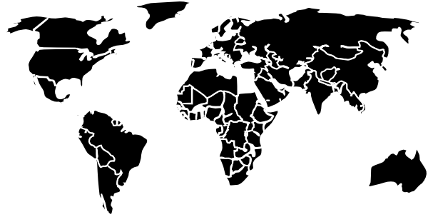 Black White Outline World Map No Background Clip Art at Clker