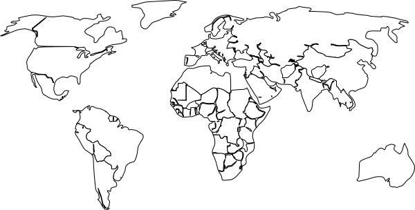 World black and white png. Outline map no background