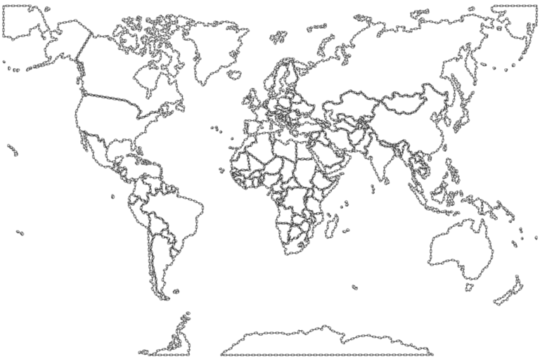 Edge drawing world. Map clipart colored color