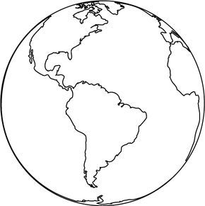 World clipart coloring. Free printable earth pages