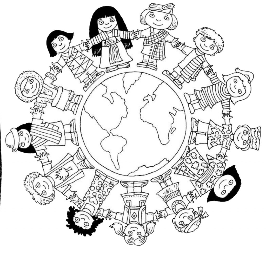 World clipart coloring. Children of the pages