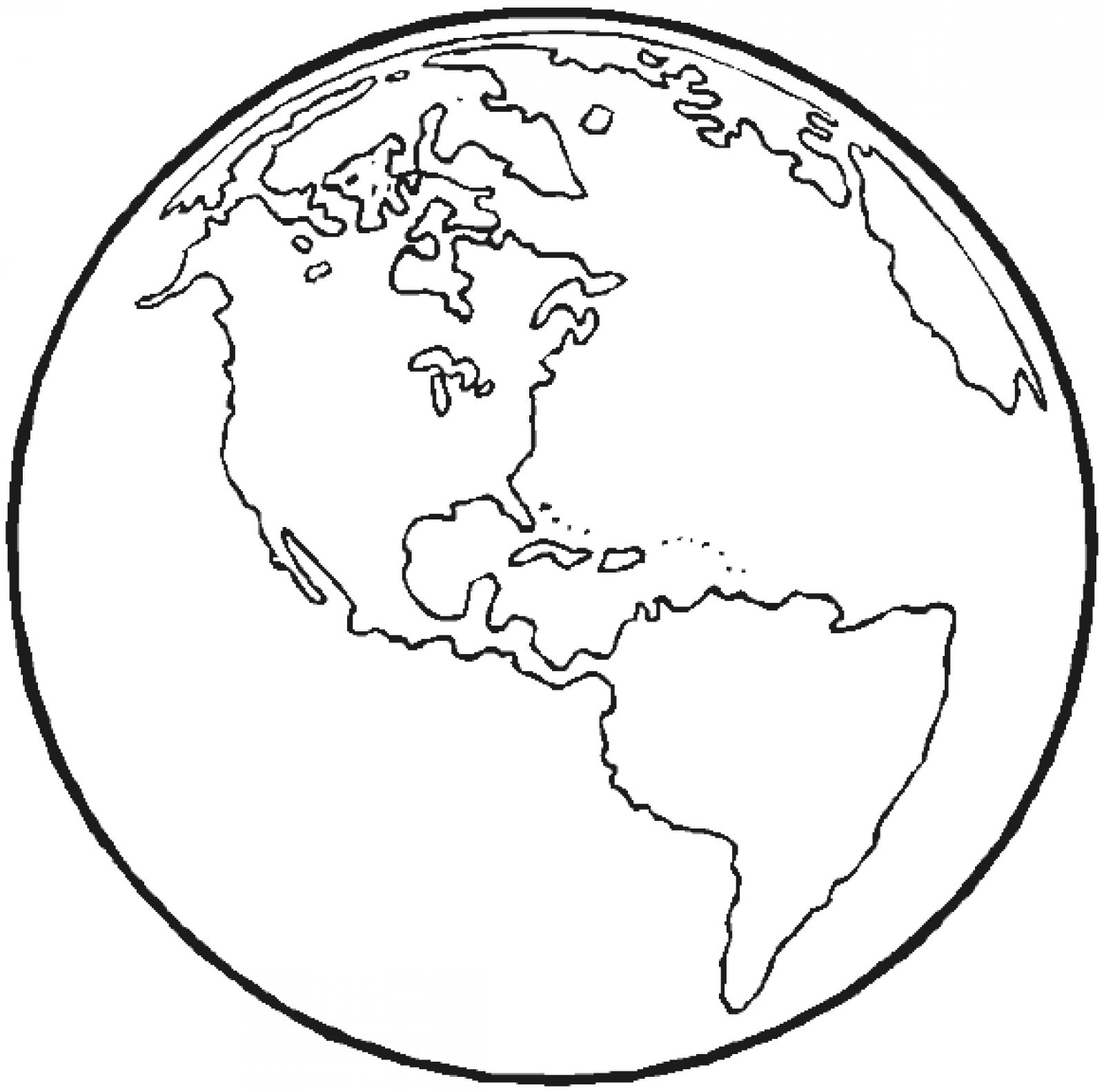 World clipart coloring. Black and white earth