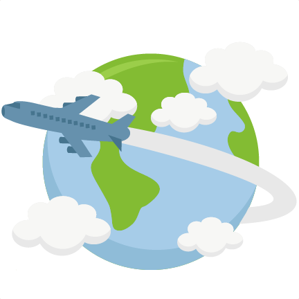 World clipart earth round. Airplane flying around svg