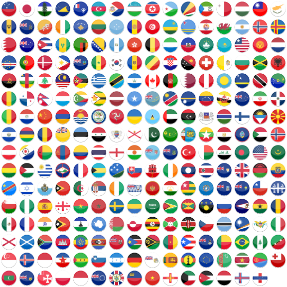 World flags png. Flat round flag icon