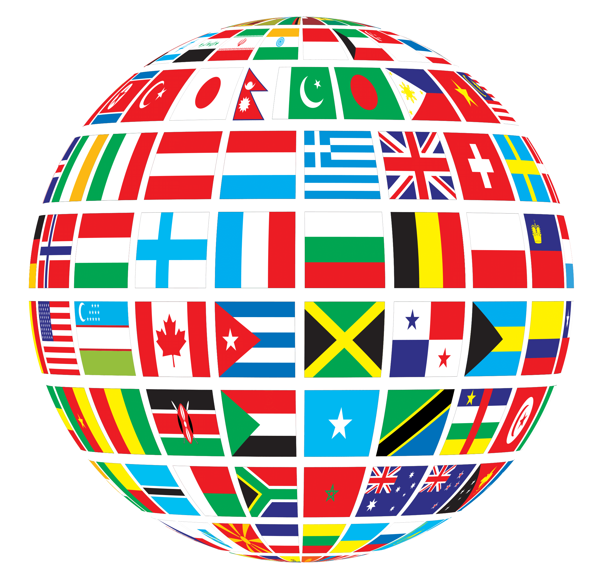 Globe of world transparent. Flags png black and white download