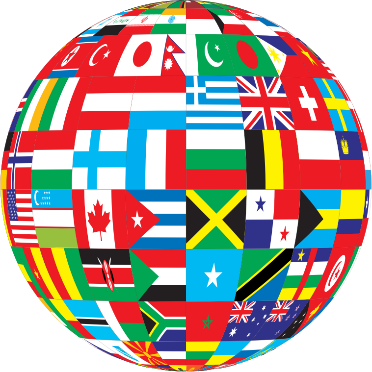 World flags png. Globe with free icons