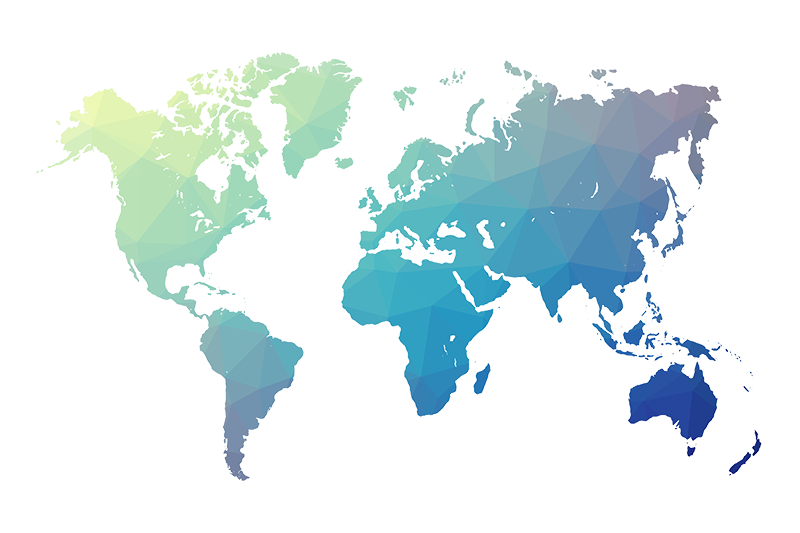 World map blue png. Polygon gradient energy resourcing