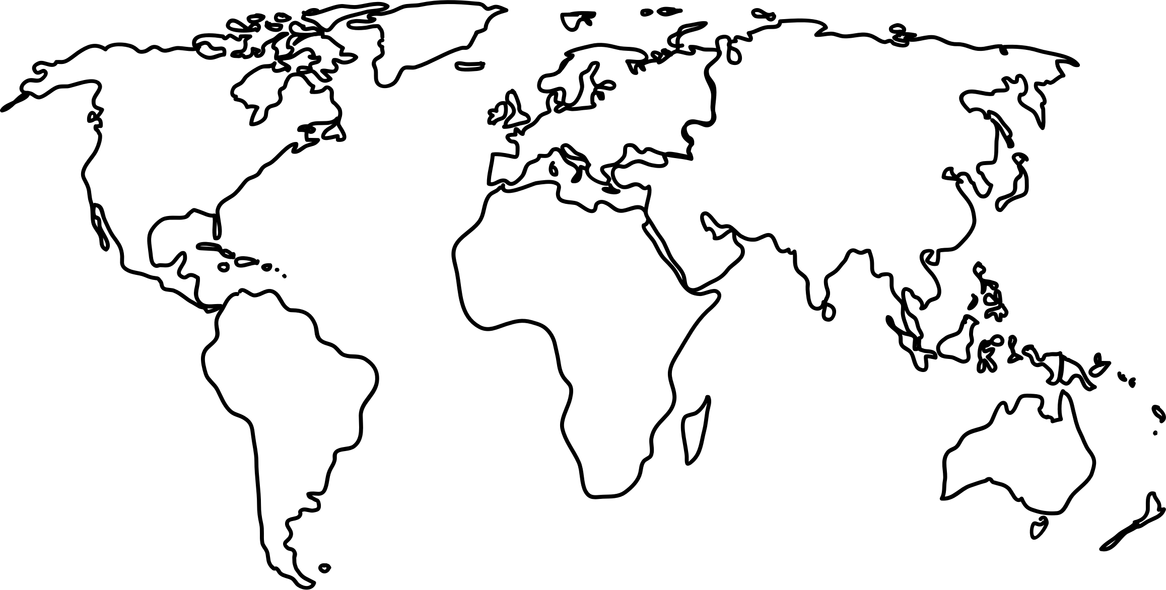 World map by jkarthik. Continents drawing graphic black and white