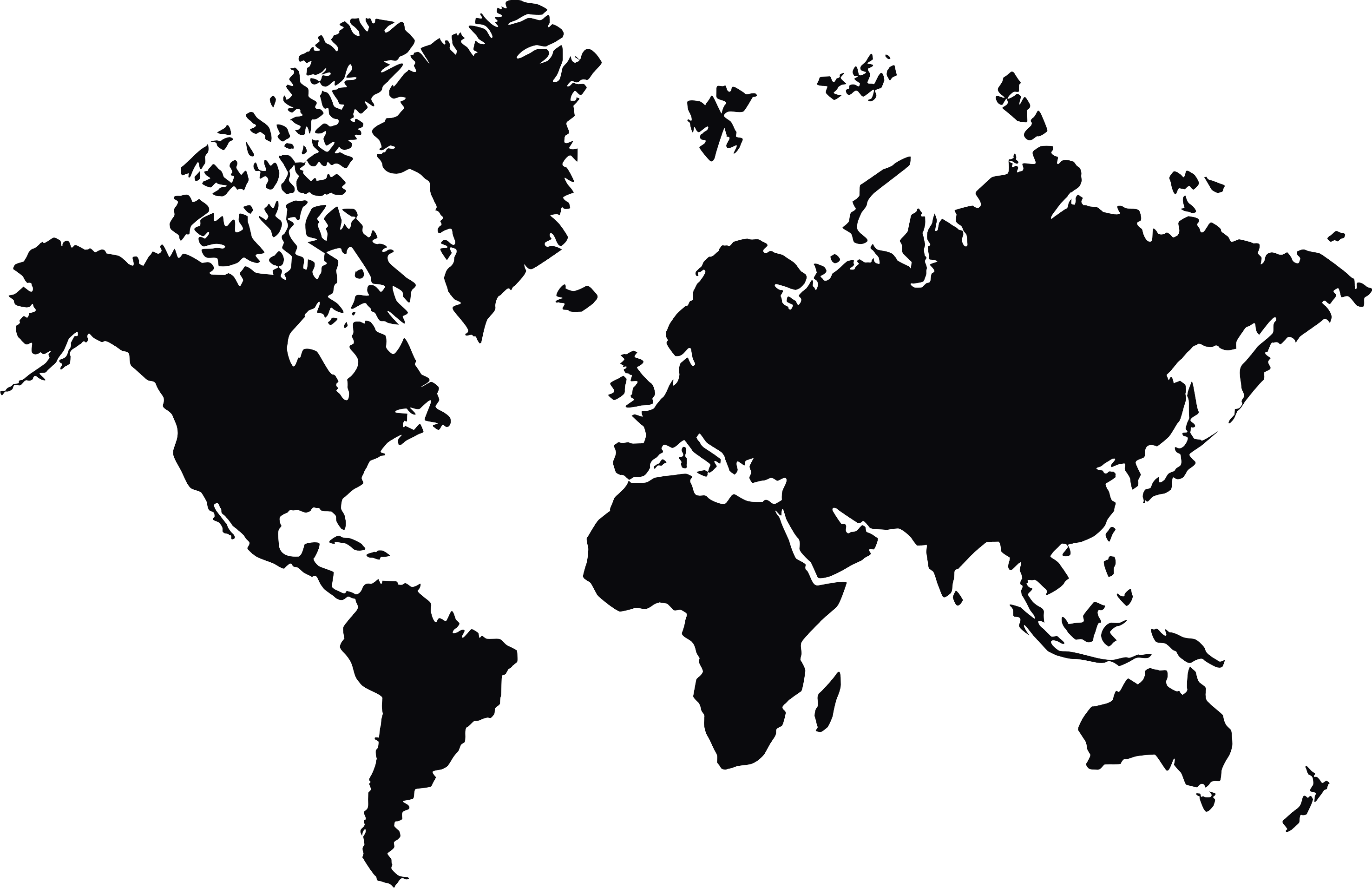 World map black and white png.