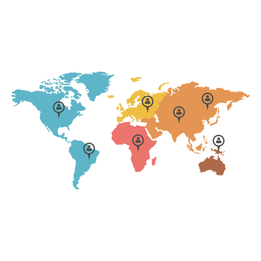 World map png vector. Continental agent marker transparent