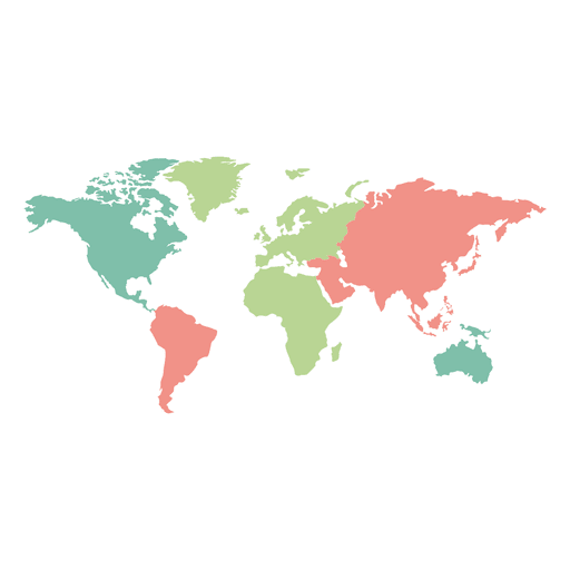 World map png vector. Colored continents transparent svg