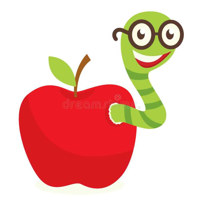 Stock vector illustration of. Worm clipart apple banner transparent stock